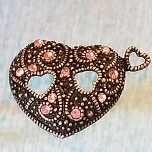 NWT Antiqued GLP Pendant Pink Glass Crystals